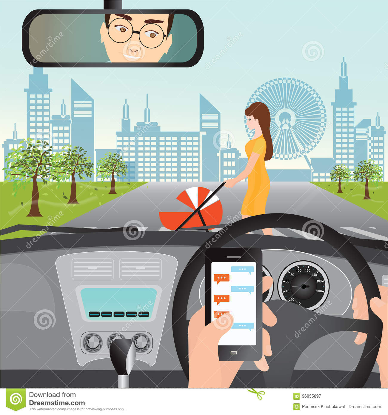 Man Using Smartphone While Driving The Car When Woman With