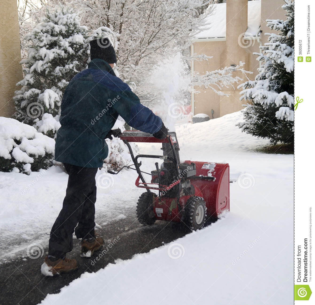 Man Using Snow Blower Stock Photography - Image: 36005672