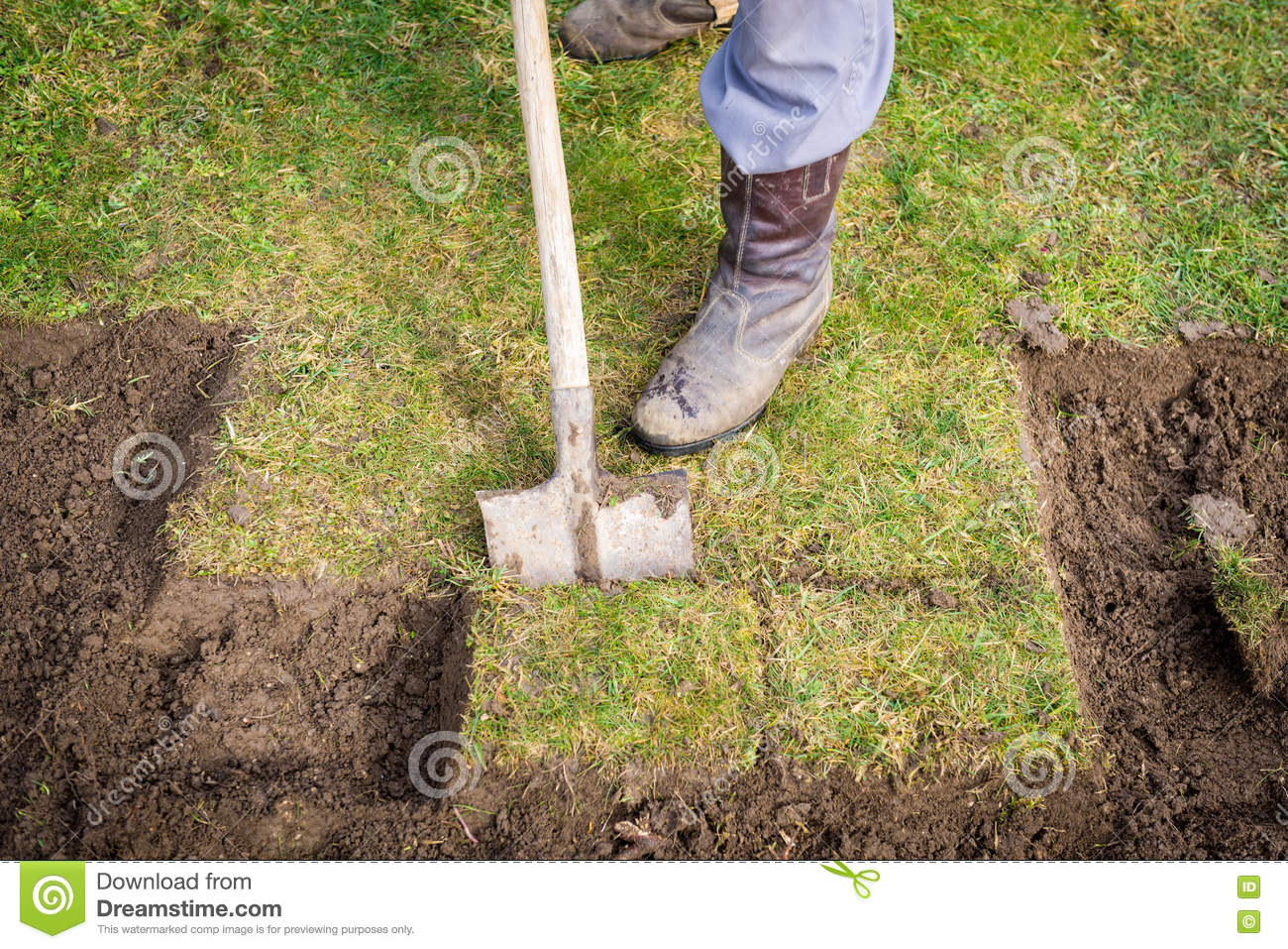 Man digging with spade in garden royalty free stock image for Digging ground dream meaning