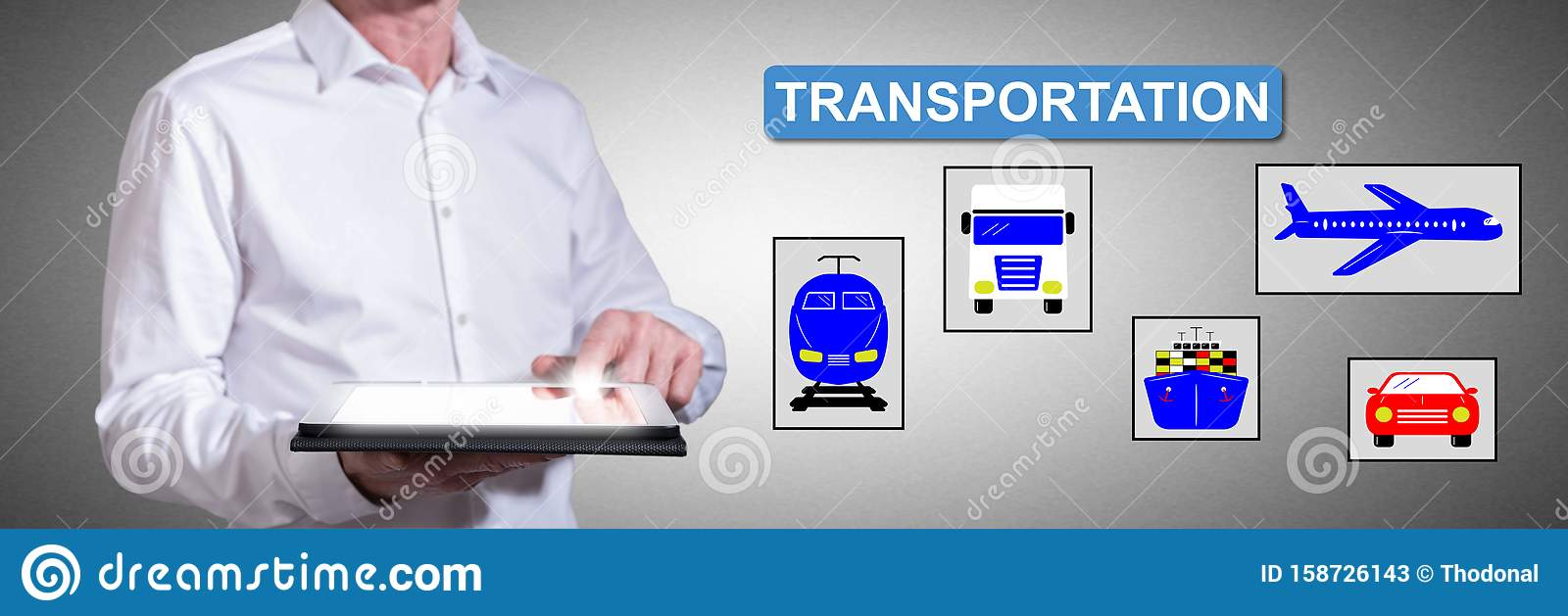 Transportation concept with man using a tablet