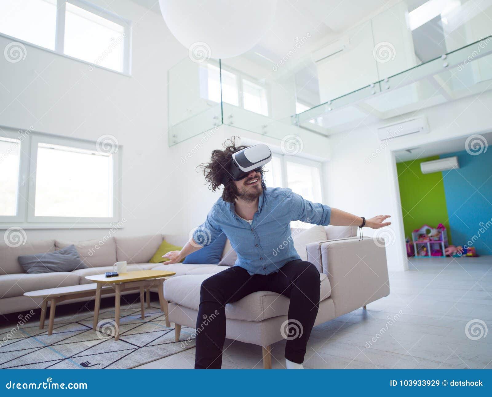 Man Using VR-headset Glasses Of Virtual Reality Stock Image - Image ...
