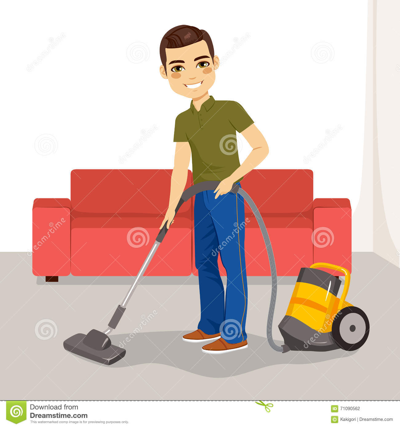 man vacuum cleaner stock vector image 71090562