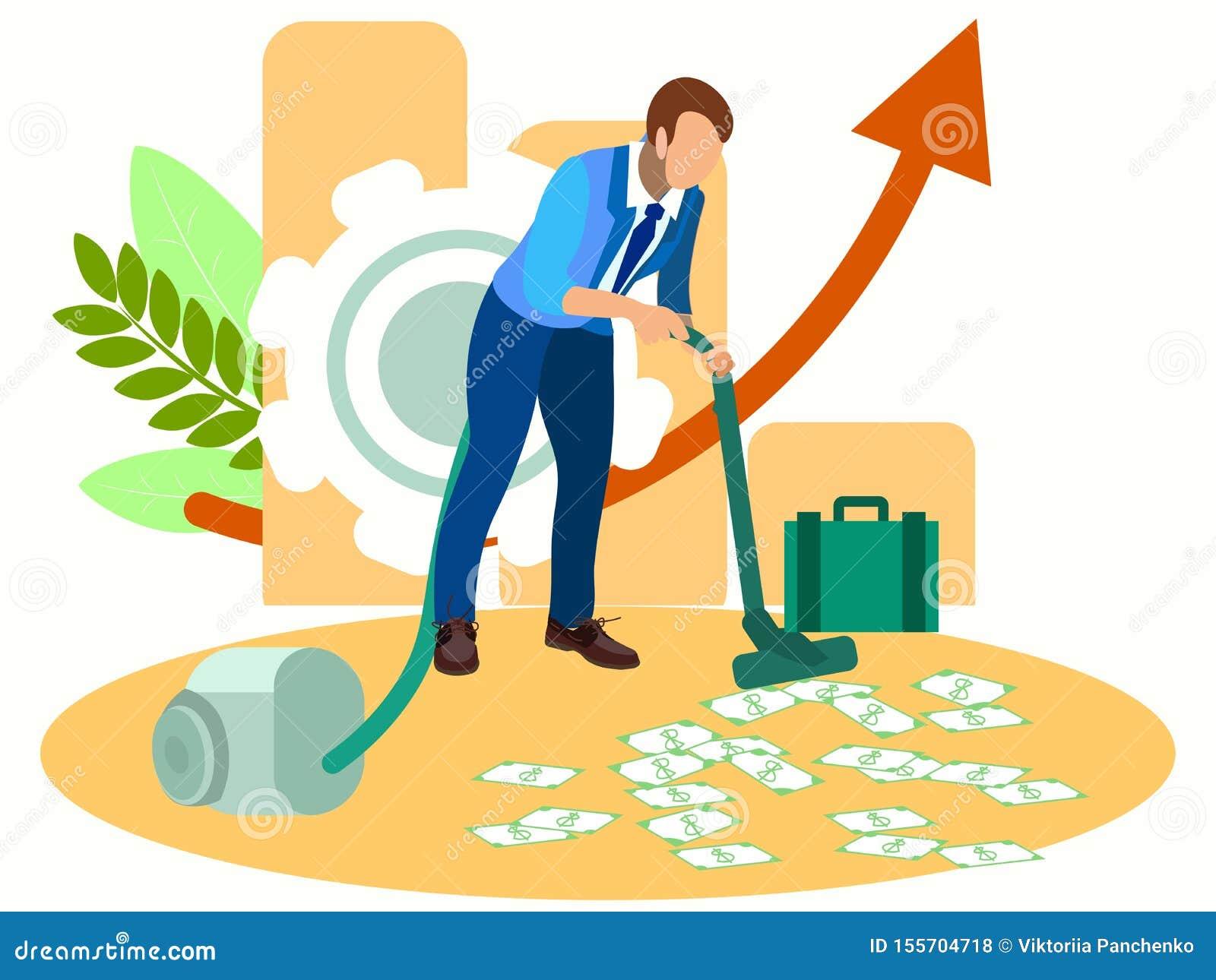 Man vacuuming money. In minimalist style Cartoon flat raster