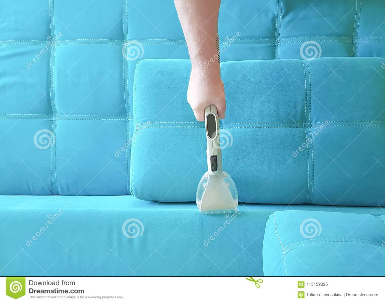Man Vacuuming Sofa Household View From Above Stock Image Image