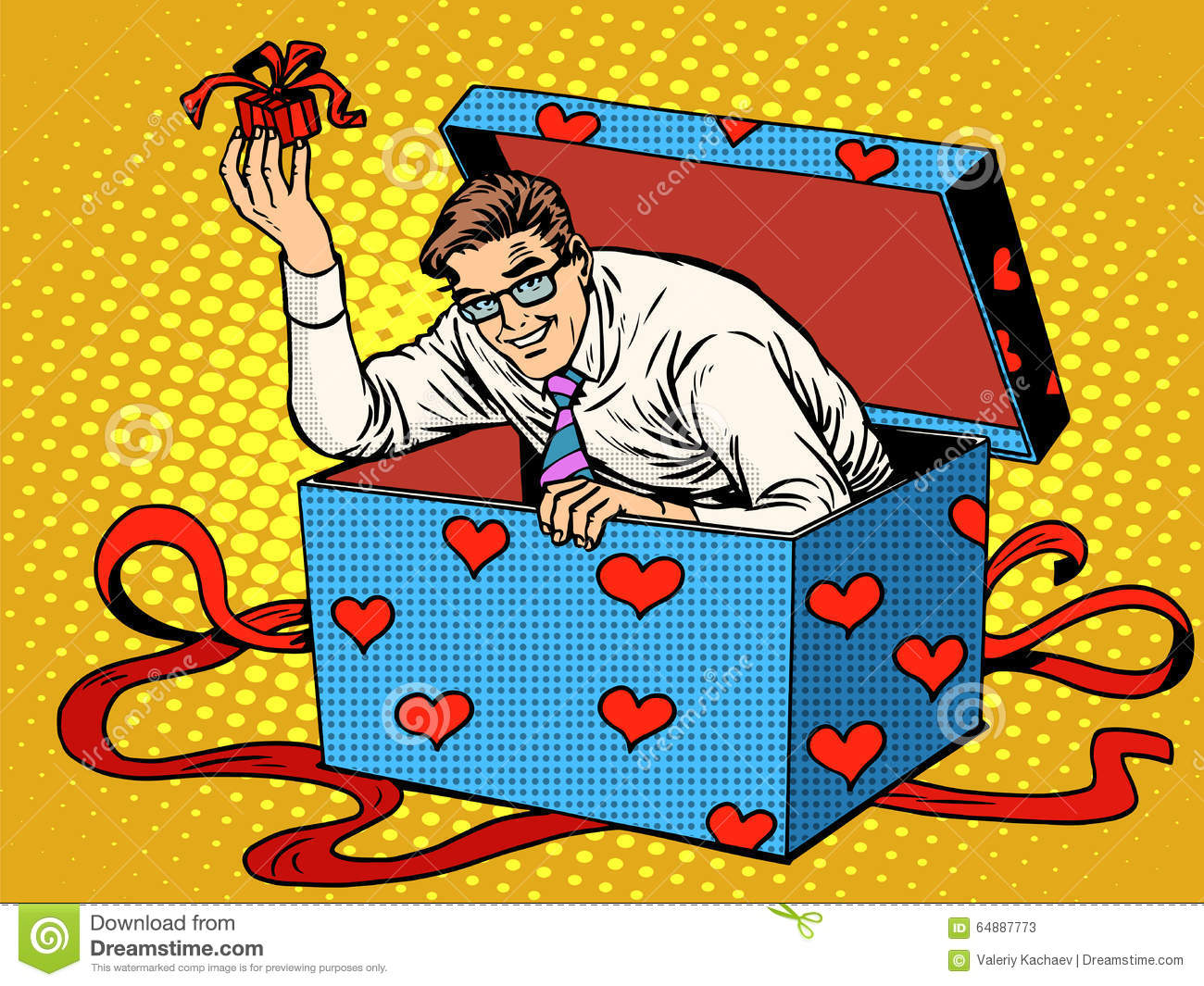 Man Valentine Day Surprise Box Love Gift Stock Vector Illustration