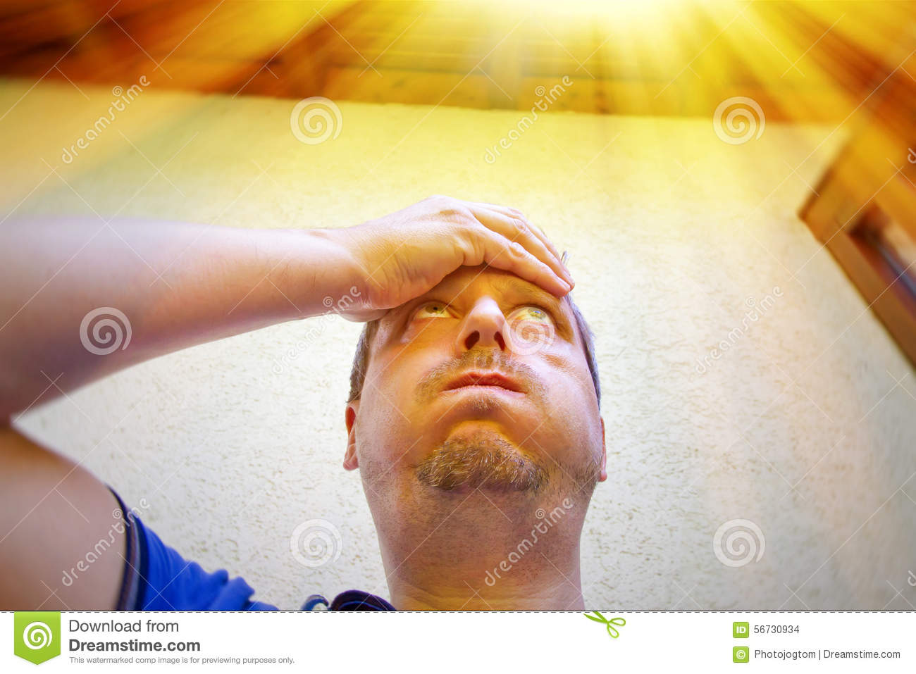 Man on a very hot day in summer stock photo image 56730934 for The sunhouse