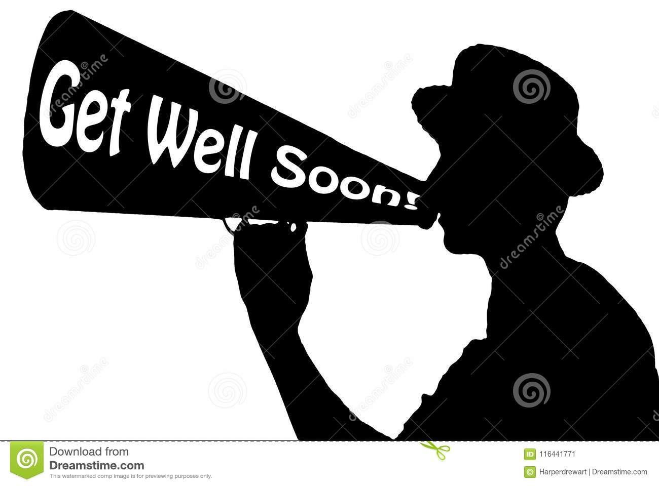 get well soon appreciation celebration announcer with megaphone