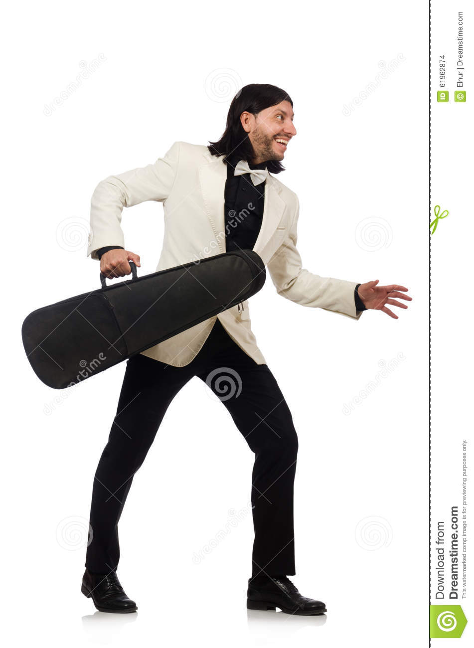 Download The Man With Violin Case On Whtie Stock Photo - Image of isolated, case: 61962874
