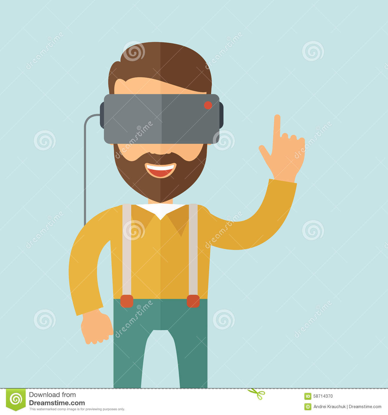 Man With Virtual Reality Headset Stock Vector