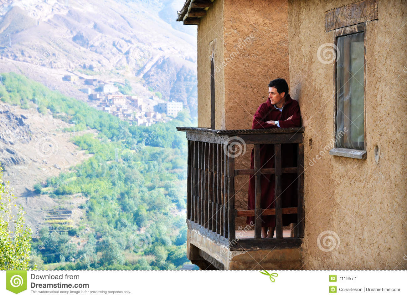 Man visiting a kasbah in morocco