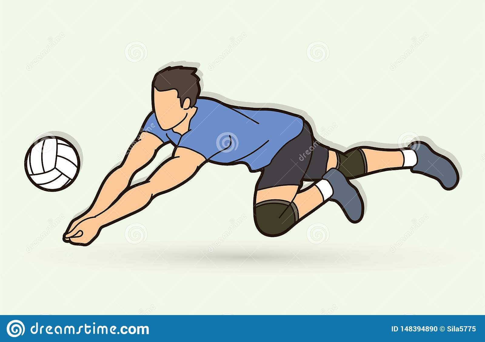Man Volleyball Player Action Cartoon Graphic Stock Vector Illustration Of Male Sport 148394890