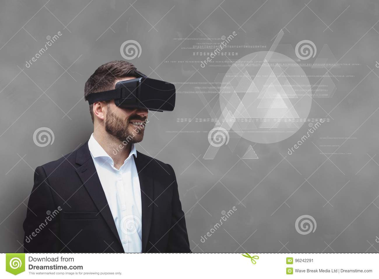Man in VR headset looking at interface against grey background