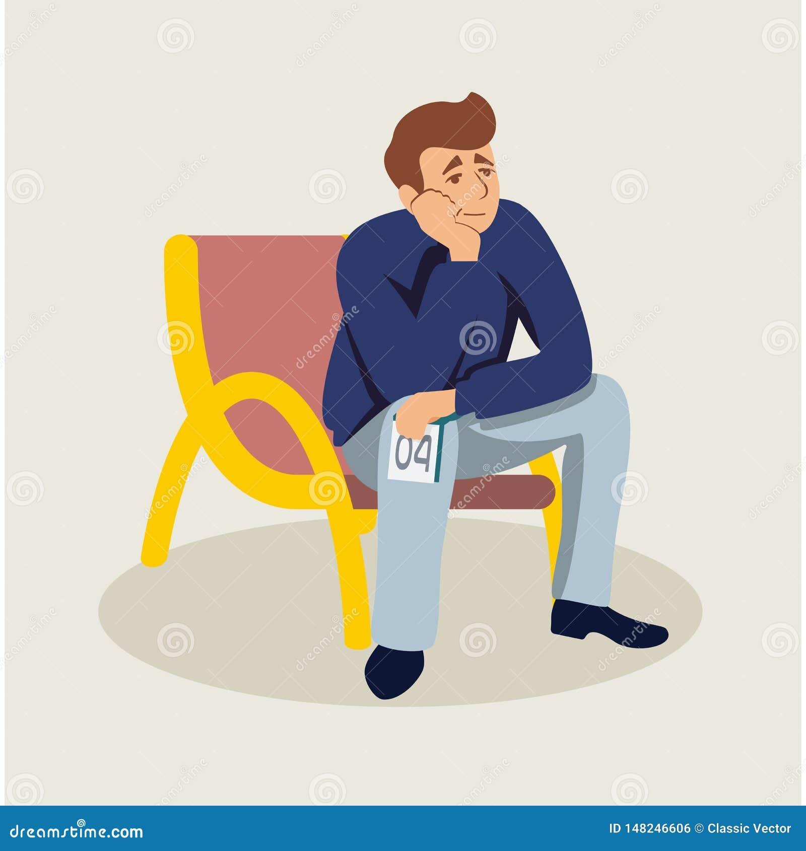 Man waiting in queue flat vector illustration