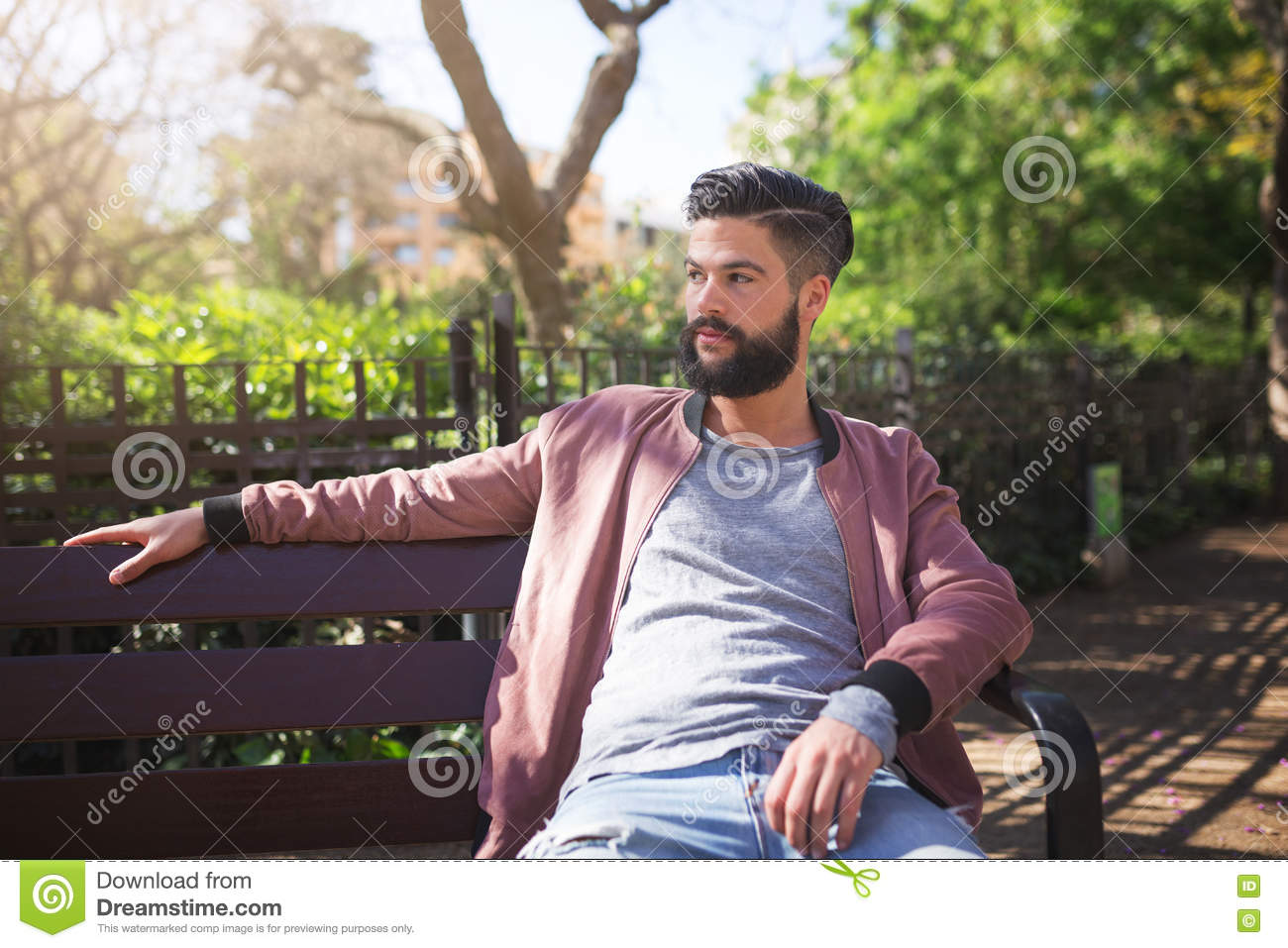 Man Waiting For Someone In The Park Stock Image Image Of Shirt
