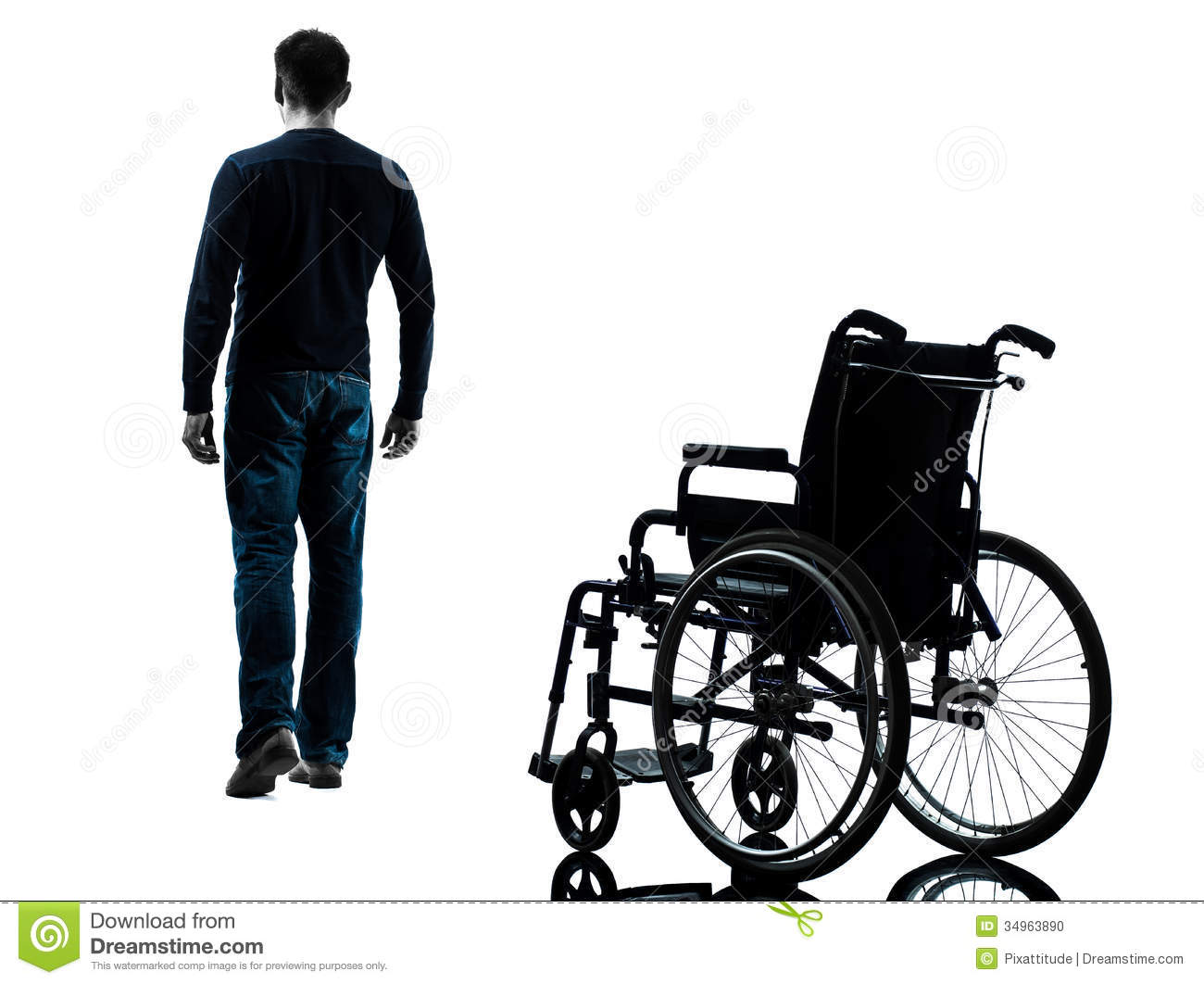 One man walking away from wheelchair in silhouette studio on white