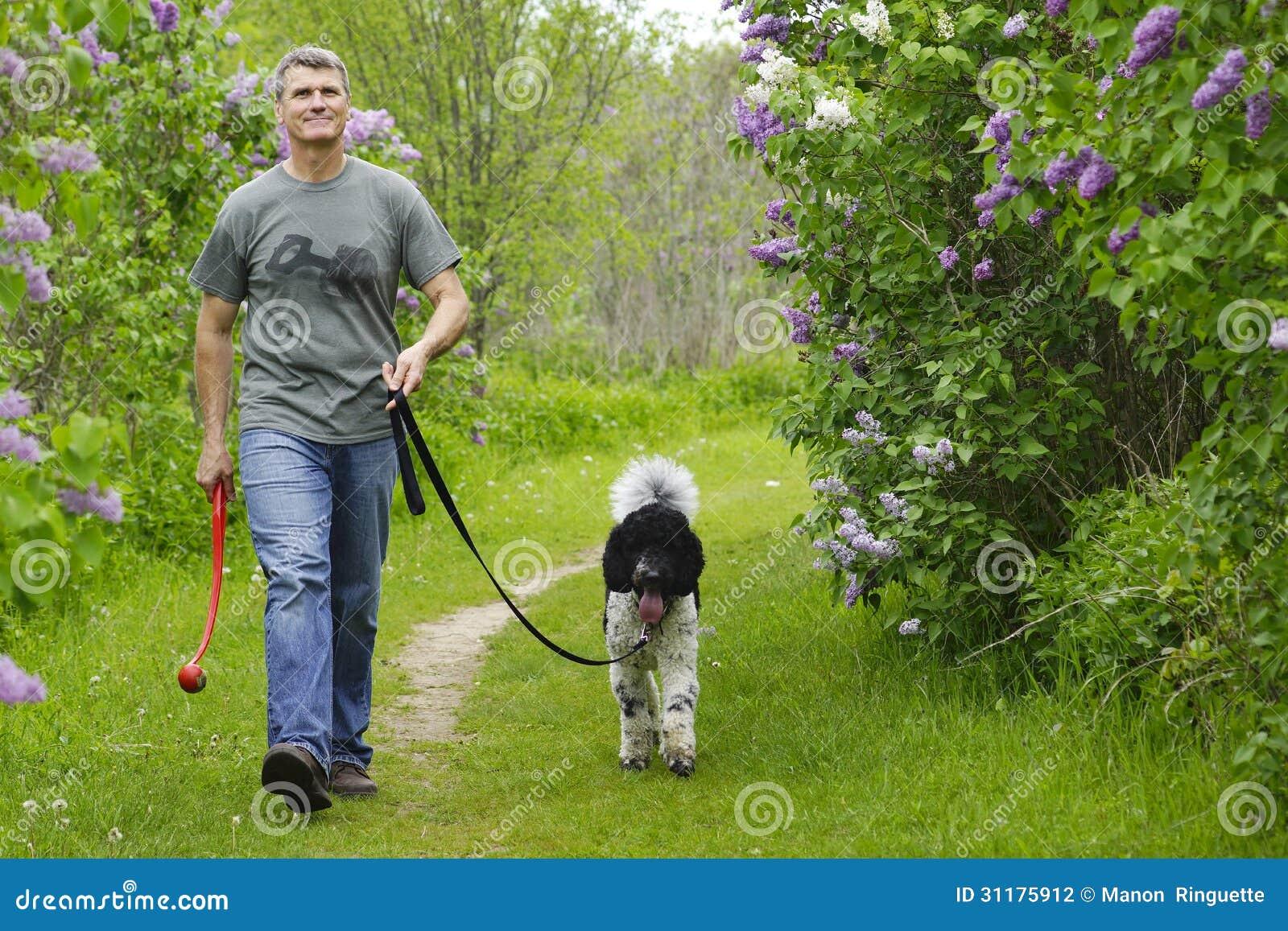 Man Walking Dog : Man walking dog in countryside stock photography image