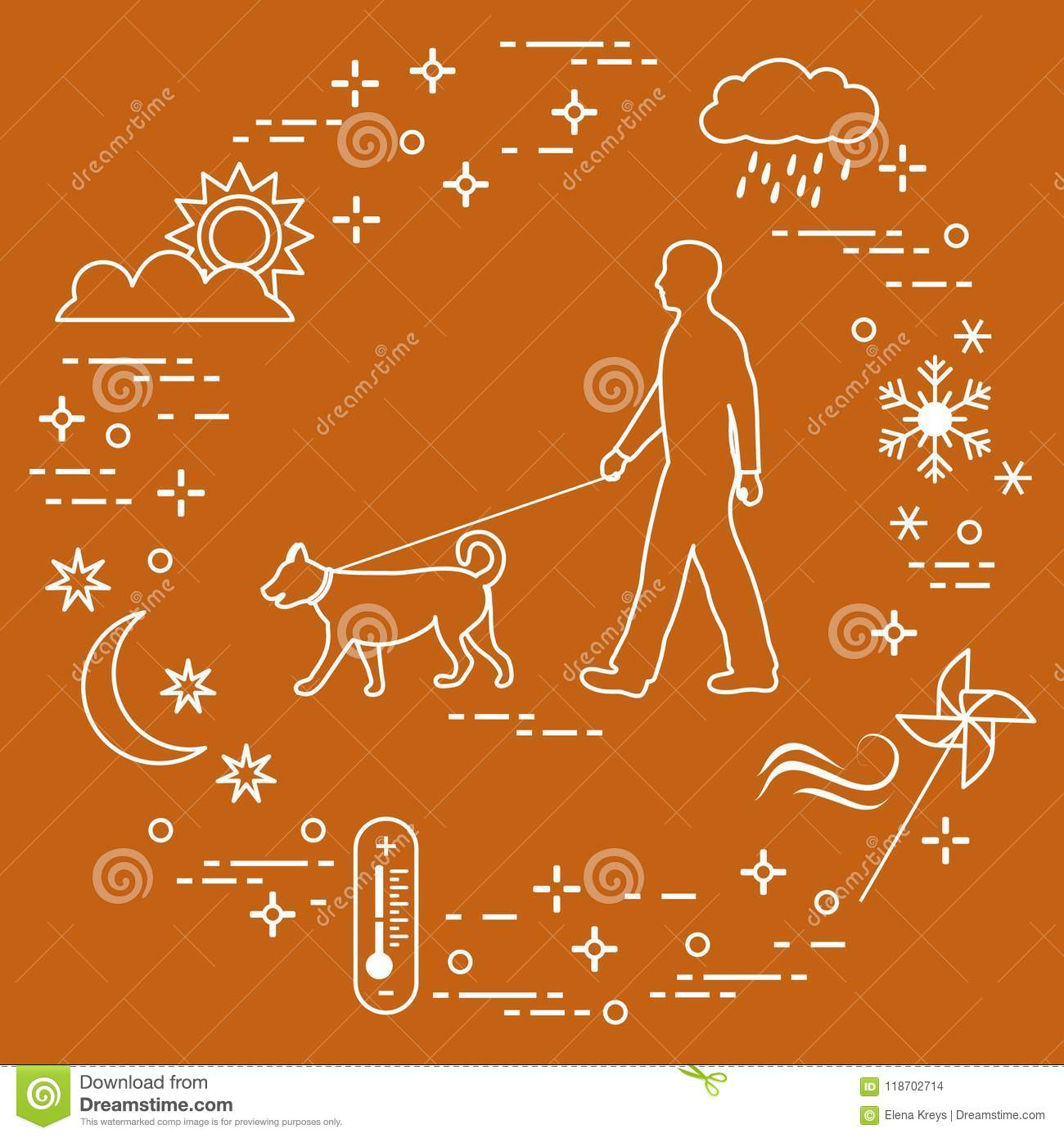Man Walking A Dog On A Leash In Any Weather Stock Vector