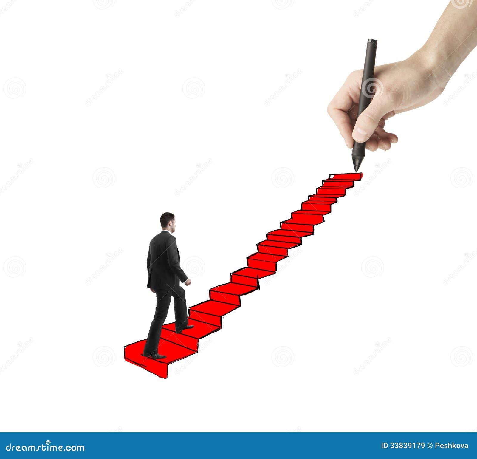 Man Walking On Drawing Ladder Stock Image Image 33839179