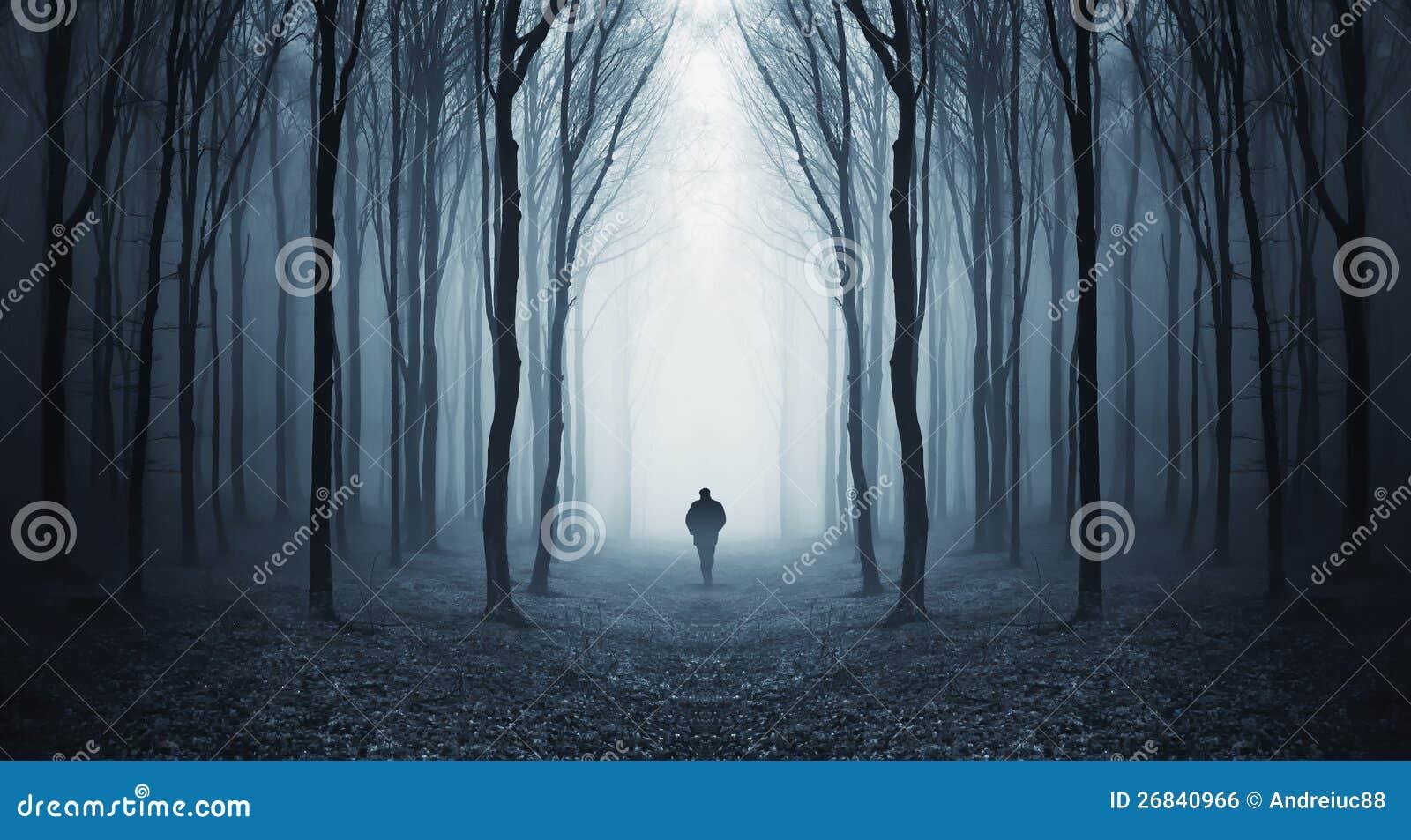 Man walking in a fairytalke dark forest with fog