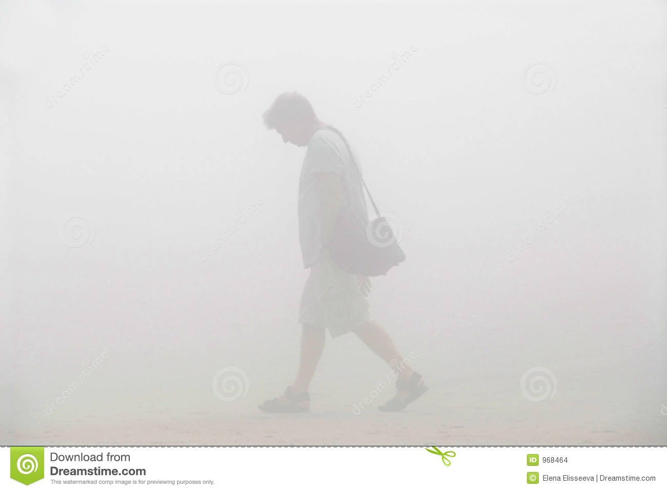 man walking in a fog stock images