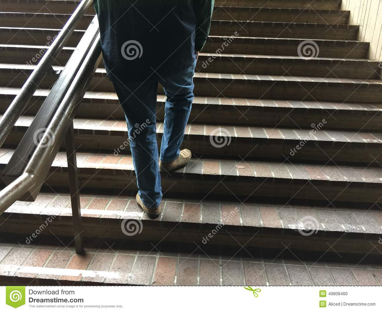 Outdoor Steps Man Walking Up Outdoor Steps Stock Photo Image 49808460
