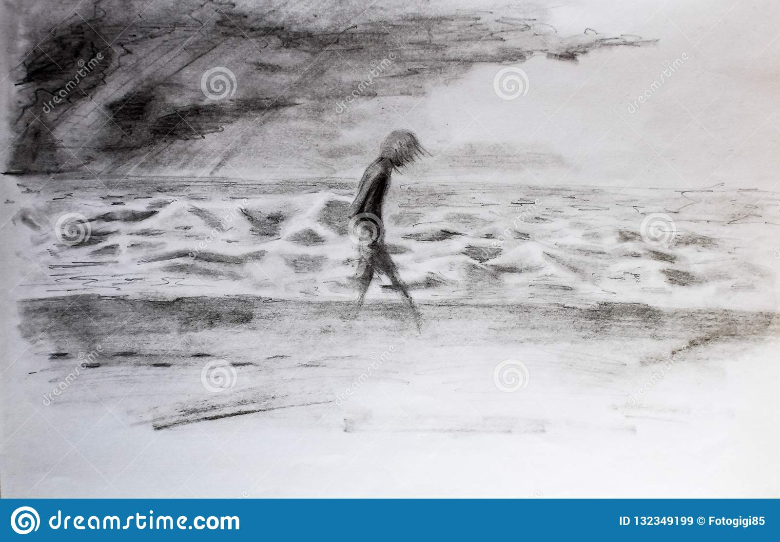 Man walks along the sea in storm and bad weather pencil drawing