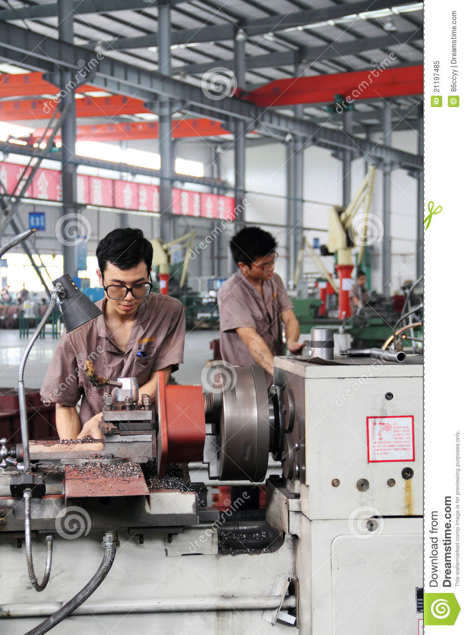 Man was working in factory