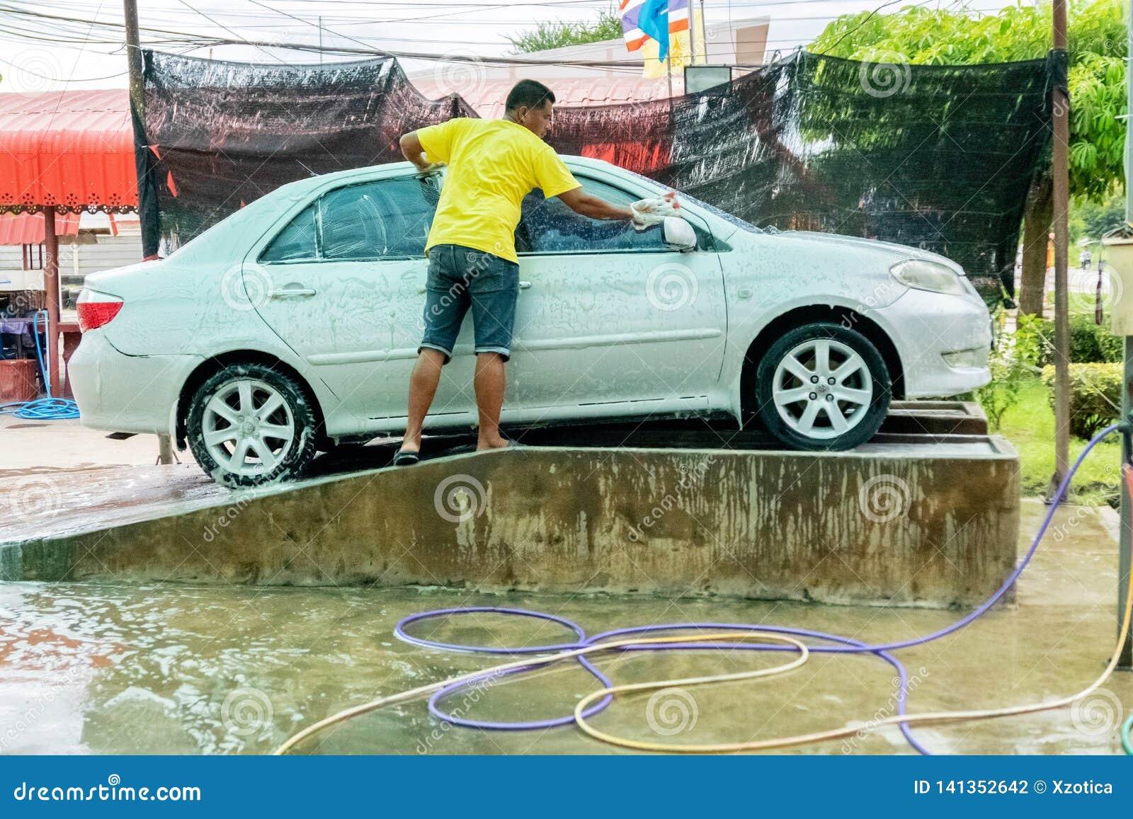 Local Car Wash >> A Man Is Washing A Car In Local Car Wash At Hua Hin