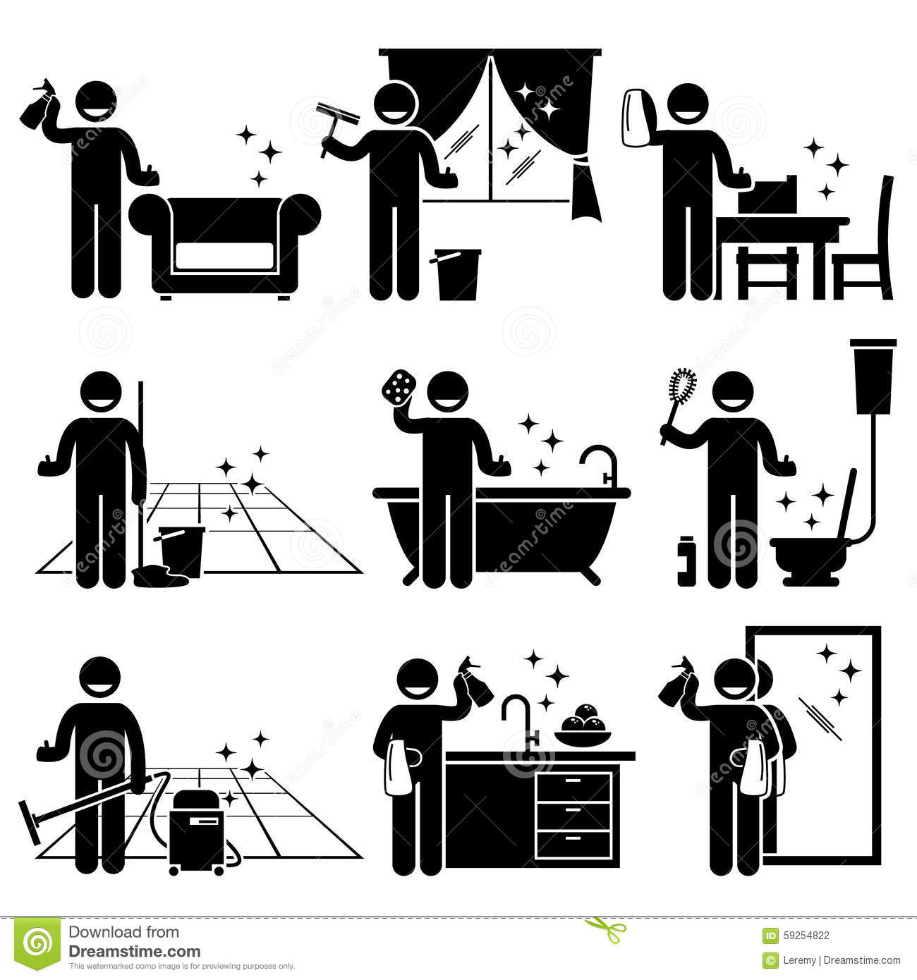 Human pictogram stick figures showing a man doing household work with