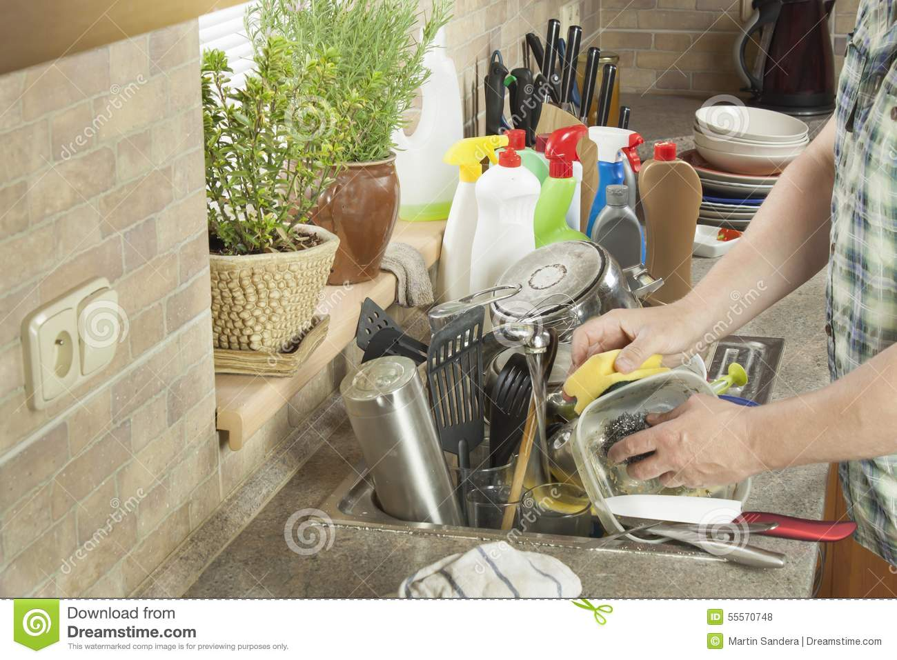 Man Washing Dirty Dishes In The Kitchen Sink. Stock Photo - Image of ...