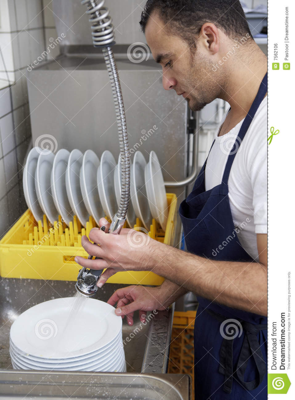 Man Washing Dishes Royalty Free Stock Image Image 7562106