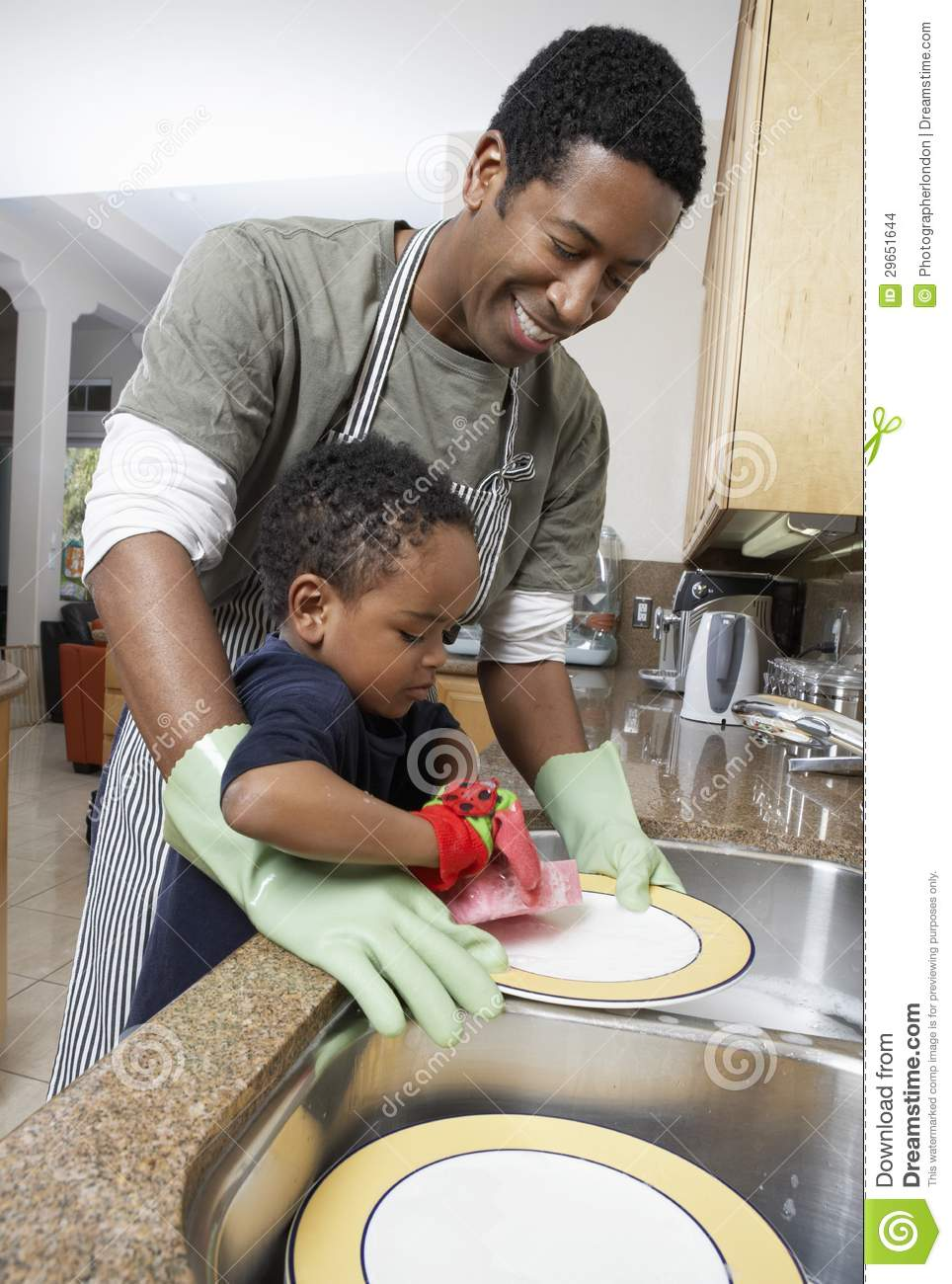 Download Man Washing Dishes With Son Stock Photo - Image of father, housework: 29651644
