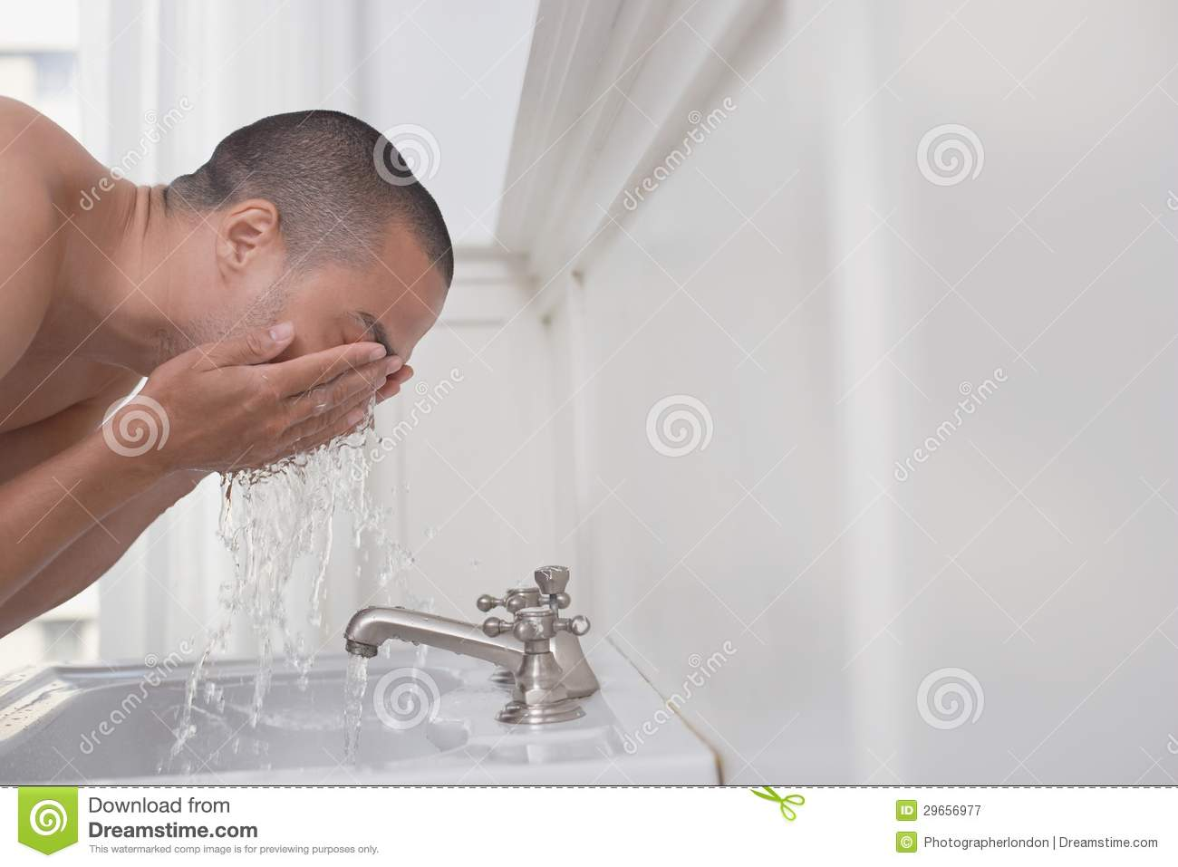 Man Washing Face In Sink Royalty Free Stock Photography - Image ...