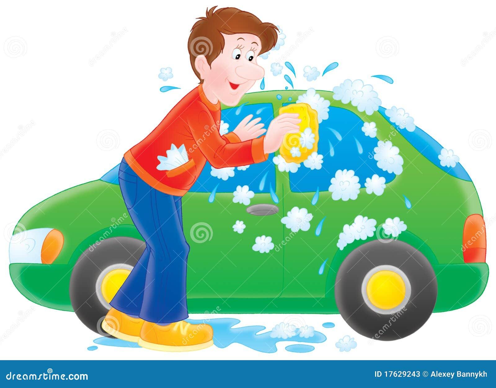 washing his car stock photos image 17629243