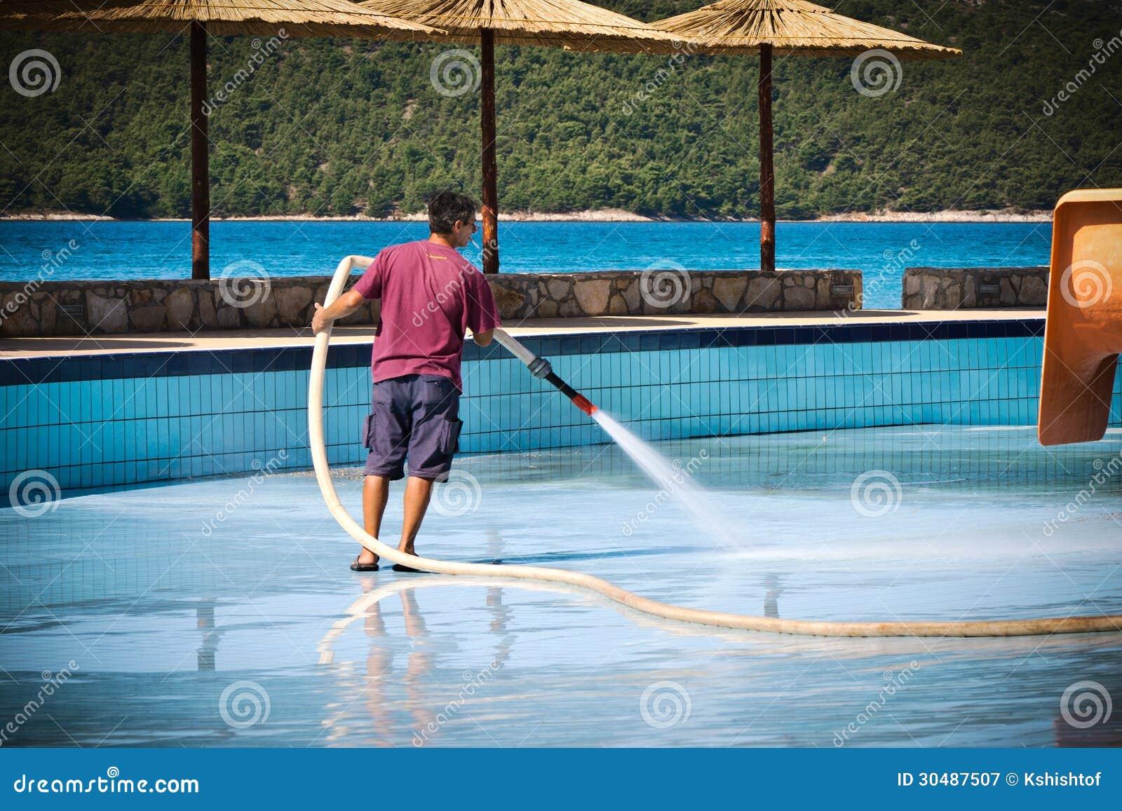 Man Washing Swimming Pool Editorial Photography Image 30487507