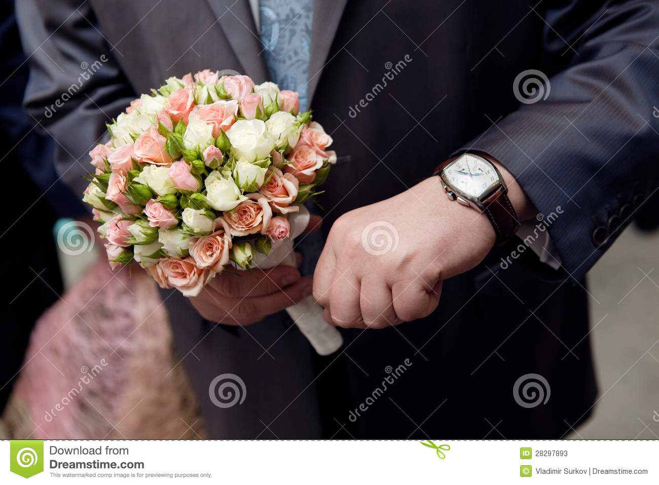 Man with watch hands a flower bouquet stock image image of arrows man with watch hands a flower bouquet izmirmasajfo Image collections
