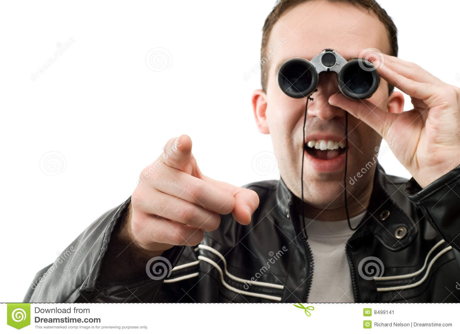 Man Watching With Binoculars Stock Image