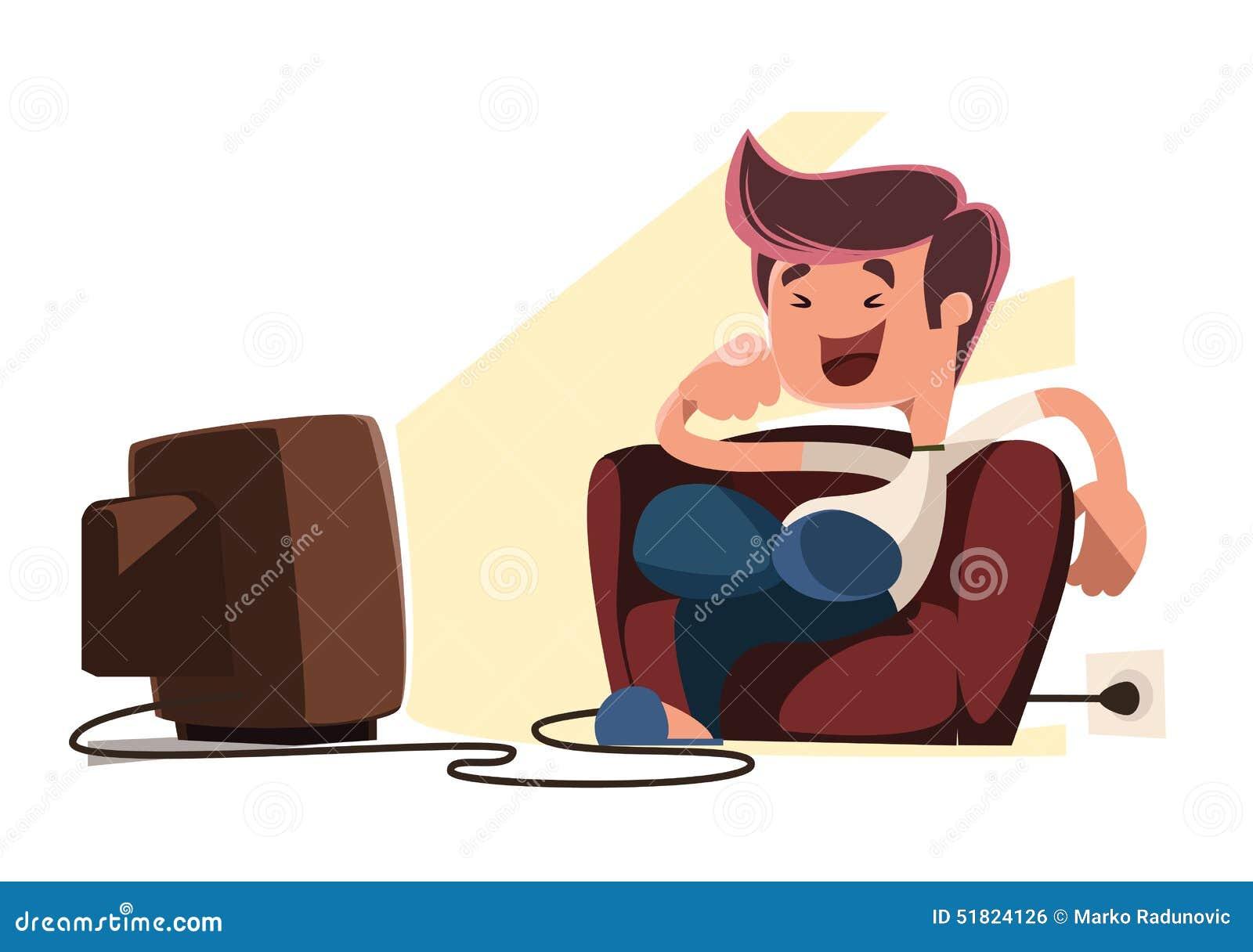 Man Watching Television Illustration Cartoon Character
