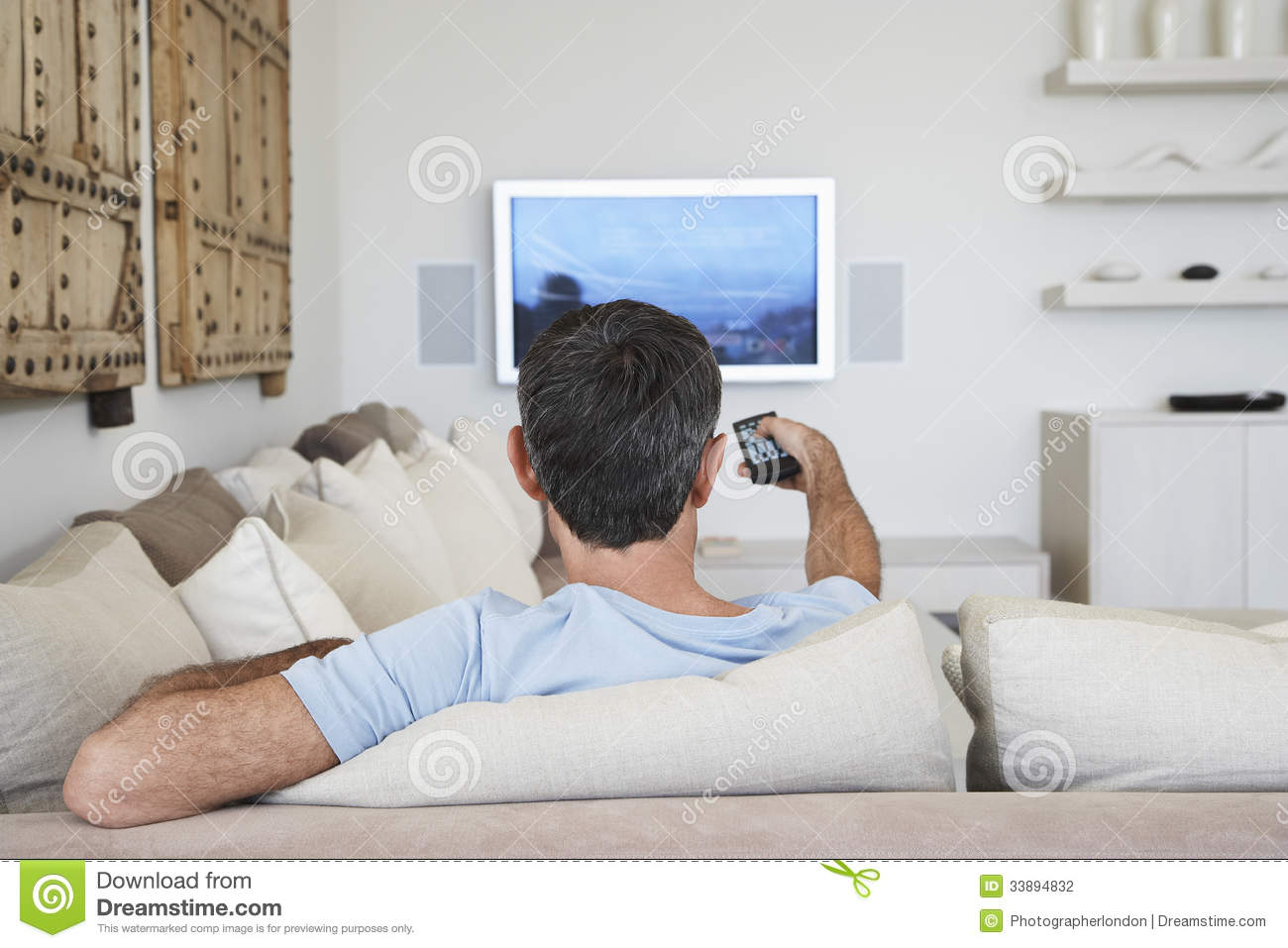 Man Living Room Man Watching Television In Living Room Stock Photography Image