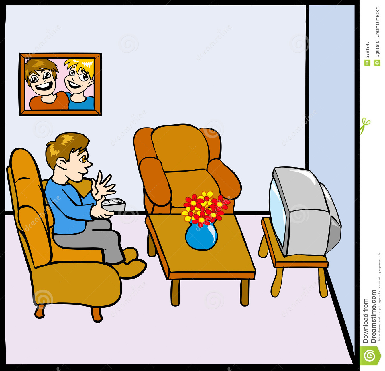 Man Watching Tv Stock Vector Illustration Of Remote