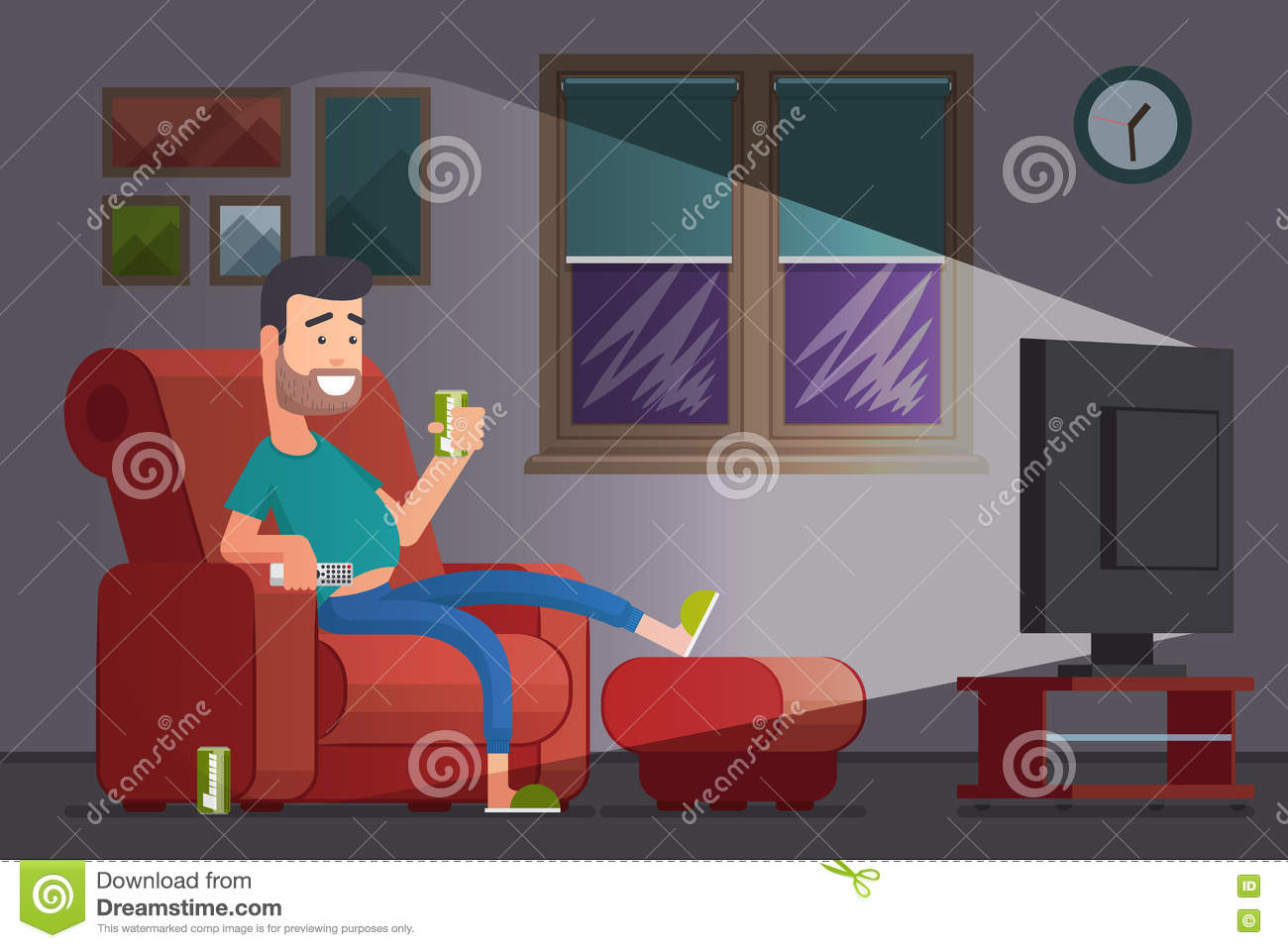 man watching tv and drinking beer cartoon vector illustration stock