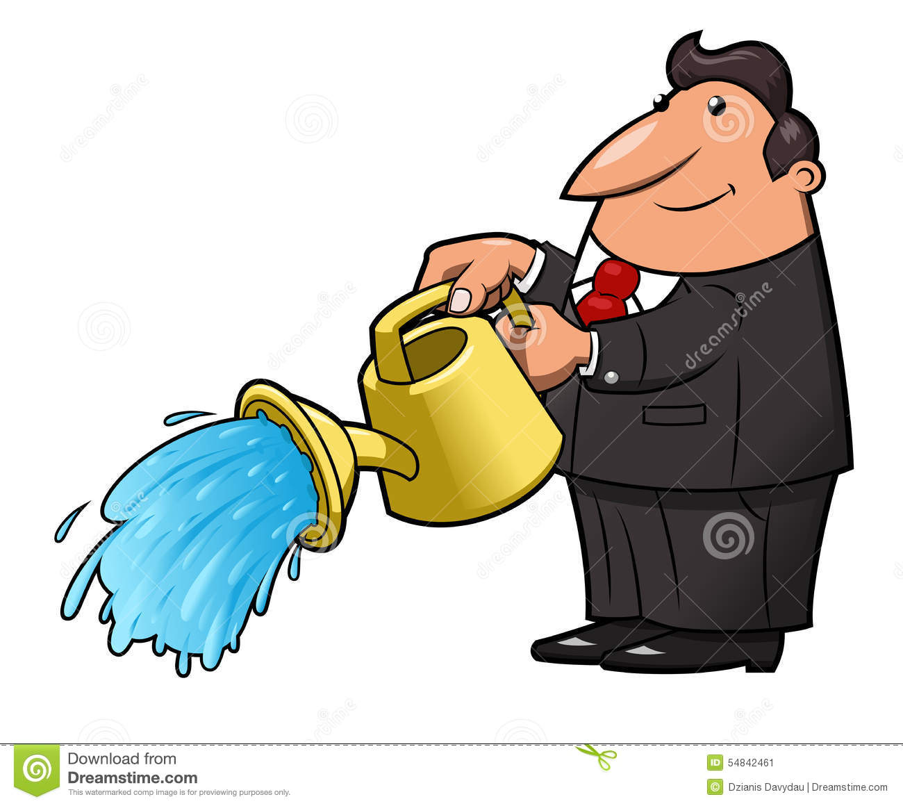 Man with watering can pouring water