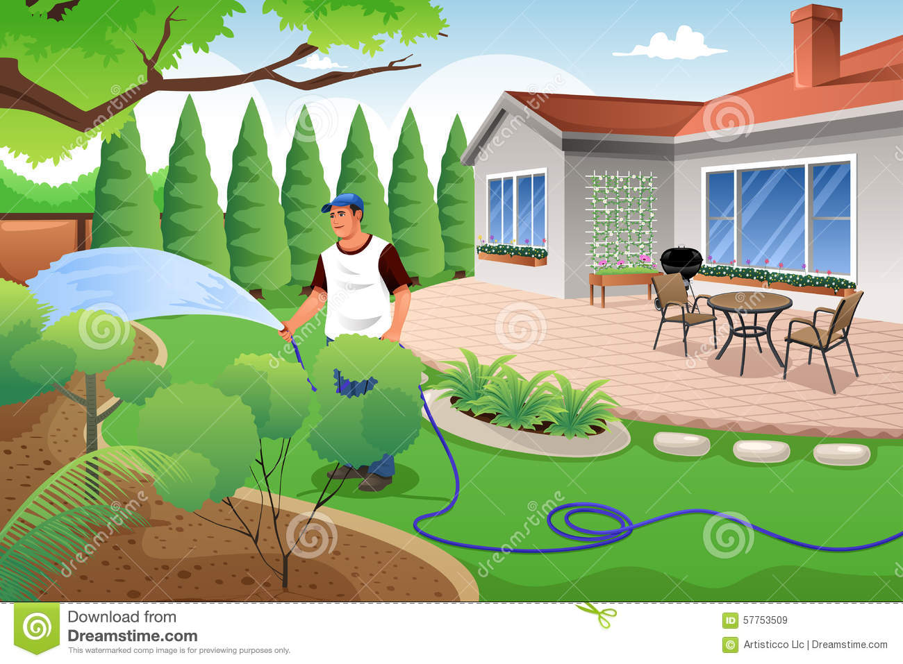 Man Watering His Grass And Garden Stock Vector