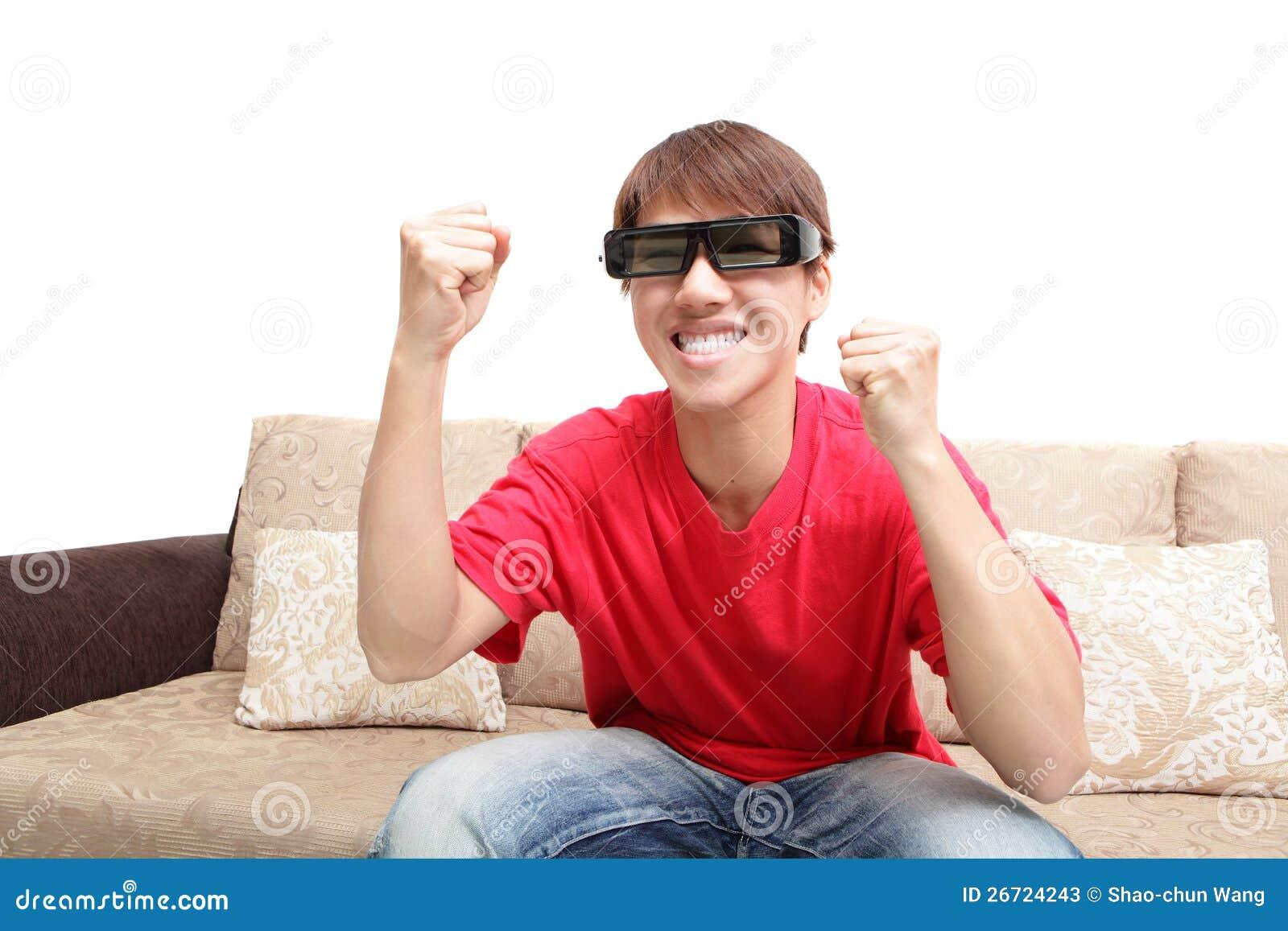 Man Wearing 3d Glasses Watch Tv Stock Photos - Image: 26724243