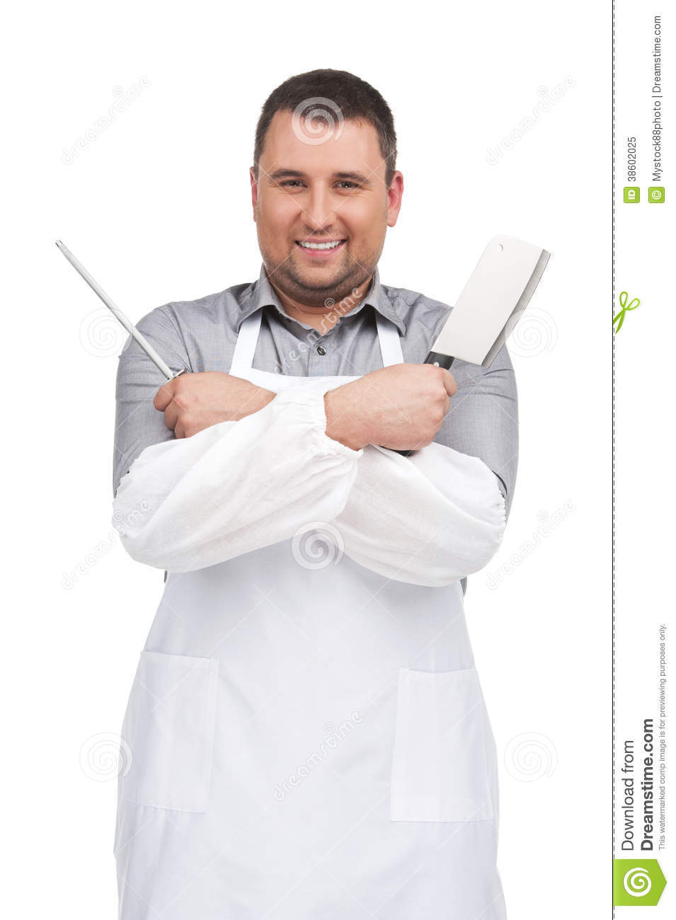 Benny The Butcher Man Of The Kitchen Instrumental : Man Wearing Apron Holding Knife. Royalty Free Stock Photo - Image: 38602025