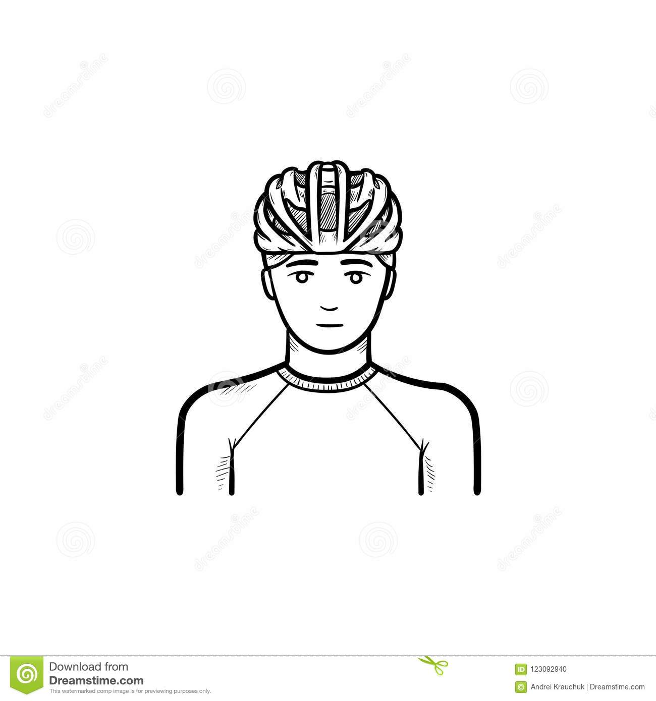 Man In Bicycle Helmet Hand Drawn Outline Doodle Icon Stock Vector