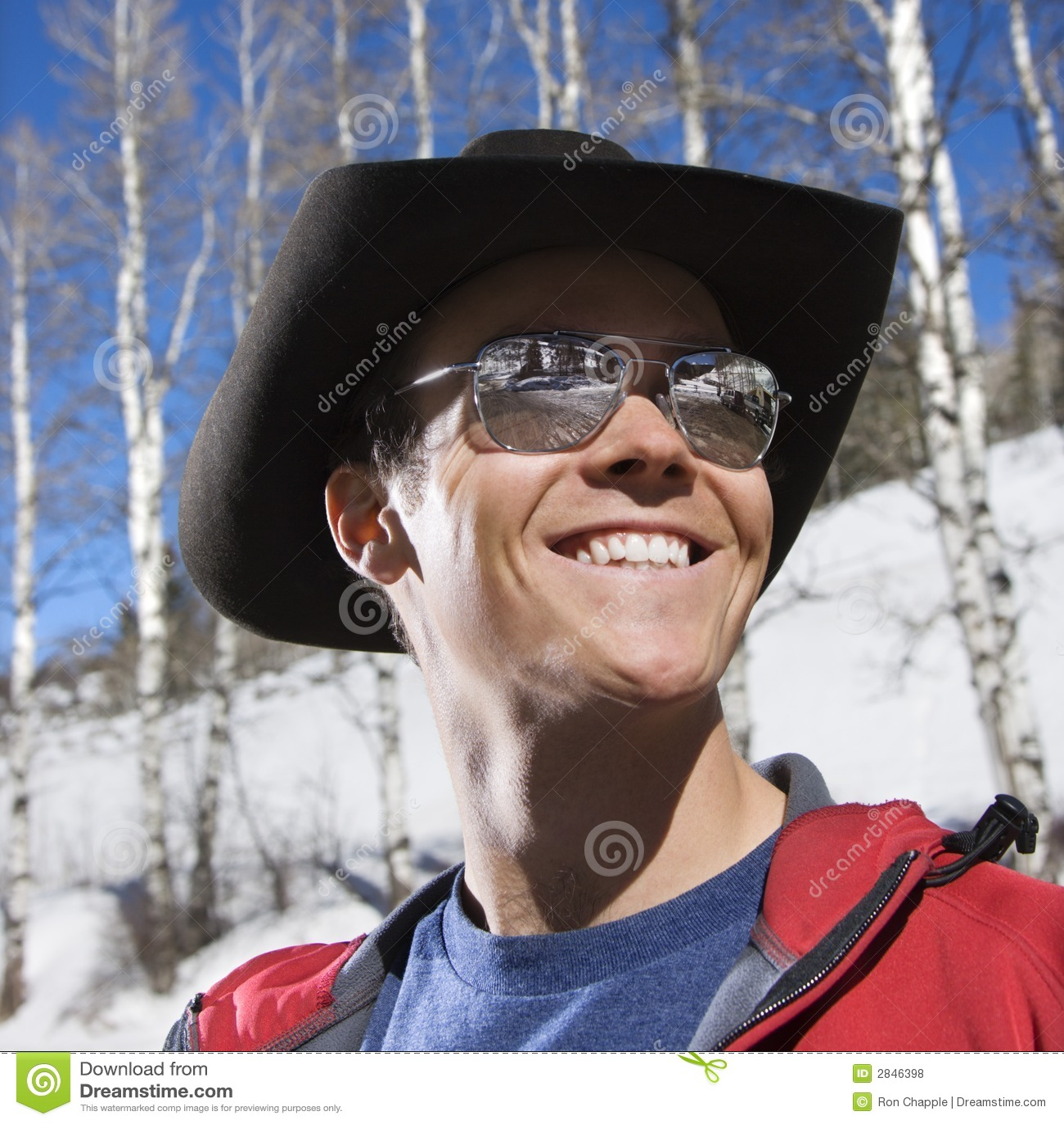 Man wearing cowboy hat. stock photo. Image of square 427b419e82b6