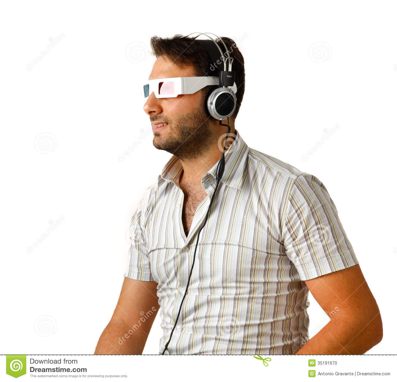 Man Wearing 3d Glasses And Headphones Stock Photo - Image ...