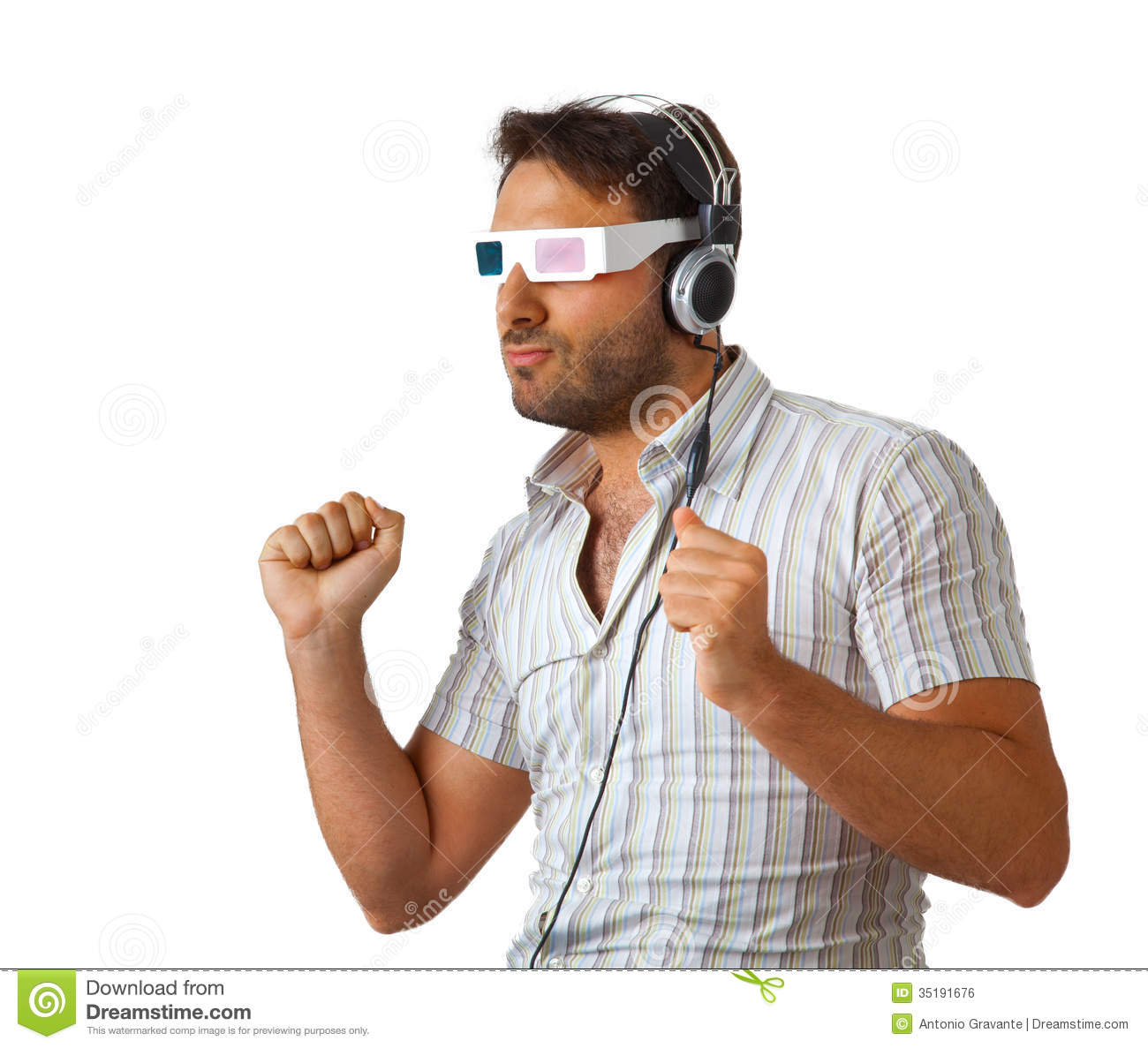 Man Wearing 3d Glasses And Headphones Royalty Free Stock ...