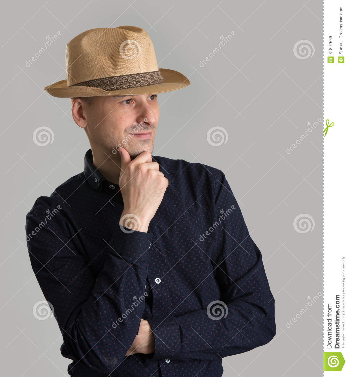 33bf9e843760e Man Wearing Fedora Hat Stock Photo 61897569 - Megapixl
